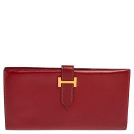 Hermes Rouge Vif Box Leather Vintage Bearn Gusset Wallet
