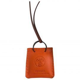 Hermès Shopping bag charm leather bag charm