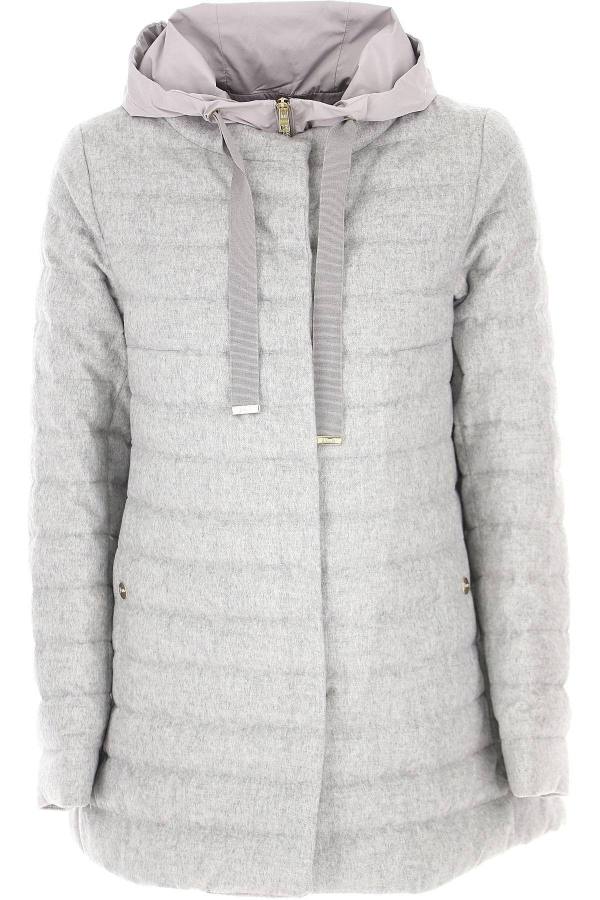 Herno Down Jacket for Women, Puffer Ski Jacket On Sale, Light Grey, Silk, 2019, 10 12 8