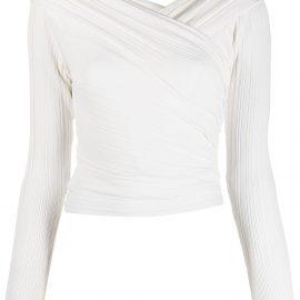 Hervé Léger off-shoulder ribbed draped blouse - White