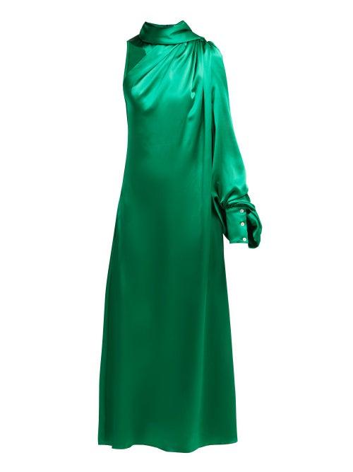 Hillier Bartley - One-shoulder Gathered Silk-satin Dress - Womens - Green