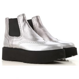 Hogan Chelsea Boots for Women On Sale in Outlet, Silver, Leather, 2021, 2.5 6.5