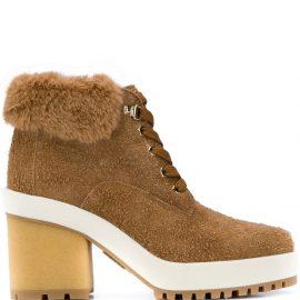 Hogan faux fur ankle boots - Neutrals