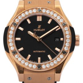 Hublot Classic Fusion King Gold Diamonds 582.OX.1180.RX.1204, Baton, 2017, Very Good, Case material Diamonds, Bracelet material: Rubber
