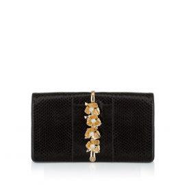 Imperial Orchid Evening Clutch: Designer Evening Bag in Black Snakeskin