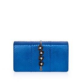 Imperial Orchid Evening Clutch: Designer Evening Bag in Blue Snakeskin