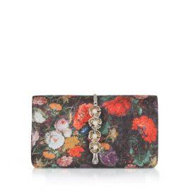 Imperial Orchid Evening Clutch: Designer Evening Bag in Floral Silk