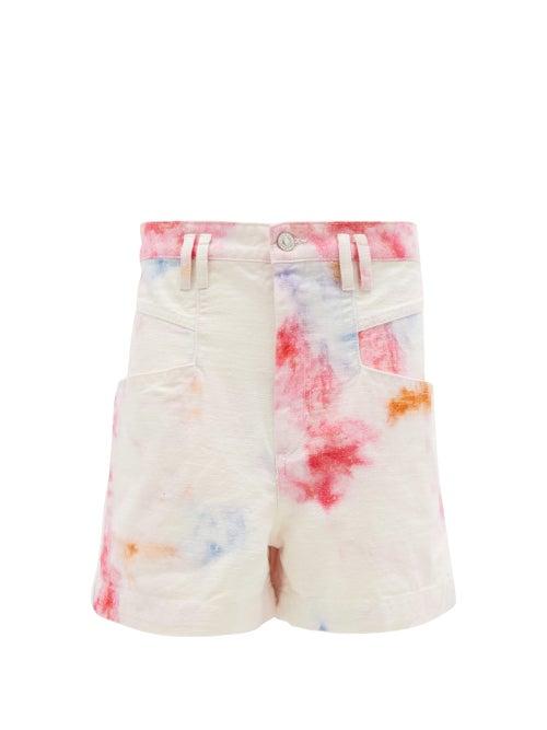 Isabel Marant - Esquia High-rise Tie-dye Cotton Shorts - Womens - Ivory Multi