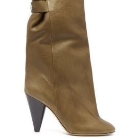 Isabel Marant - Lakee Shearling-lined Leather Boots - Womens - Khaki
