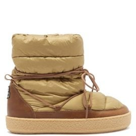 Isabel Marant - Zimlee Lace-up Leather-trimmed Snow Boots - Womens - Beige