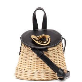 JW Anderson - Chain Lid Leather And Wicker Shoulder Bag - Womens - Black Multi