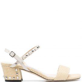 Jimmy Choo AADRA 45 studded sandals - Neutrals