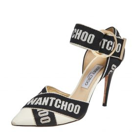 Jimmy Choo Beige/Black Fabric and Leather Bea Pumps Size 38.5