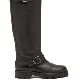 Jimmy Choo - Biker Ii Buckled Leather Knee-high Boots - Womens - Black