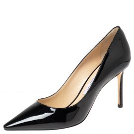 Jimmy Choo Black Patent Leather Romy Pointed Toe Pumps Size 38.5