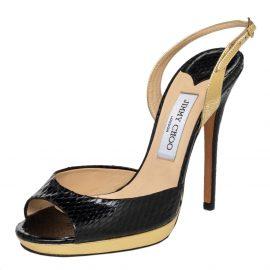 Jimmy Choo Black Python And Leather Slingback Sandals Size 39