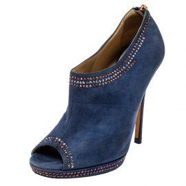 Jimmy Choo Blue Suede Glint Stud Trim Peep Toe Ankle Booties Size 38.5
