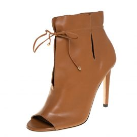 Jimmy Choo Brown Leather Memphis Tie Up Ankle Booties Size 37.5