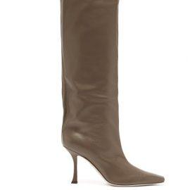 Jimmy Choo - Chad 90 Leather Knee-high Boots - Womens - Beige