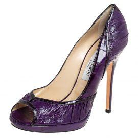 Jimmy Choo Purple Eel Leather Peep Toe Pumps Size 40
