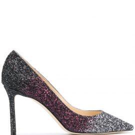 Jimmy Choo Romy 85mm glitter-embellished pumps - Grey