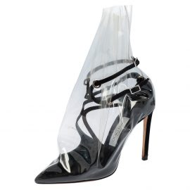 Jimmy Choo X Off-White Black Satin And TPU Claire Pointed Toe Pumps Size 38