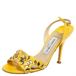 Jimmy Choo Yellow Leather Studded Slingback Sandals Size 35.5