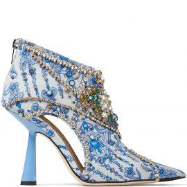 Jimmy Choo crystal-embellished Kendrix 100mm pumps - Blue