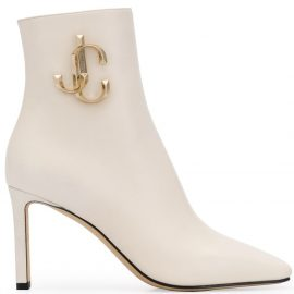 Jimmy Choo logo plaque booties - White