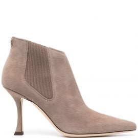 Jimmy Choo rear zip pointed boots - Neutrals