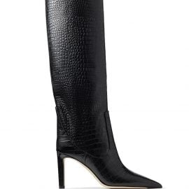 Jimmy Choo textured pointed-toe boots - Black