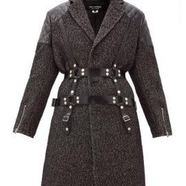 Junya Watanabe - Vinyl-strap Patch-pocket Wool-tweed Coat - Womens - Black White