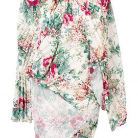 Junya Watanabe asymmetric floral print blouse - White