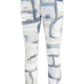 Junya Watanabe floral lace panelled jeans - Blue
