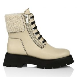 Kate Zip Lug-Sole Shearling-Trimmed Leather Combat Boots