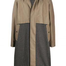 Kazuyuki Kumagai houndstooth-panel coat - Green