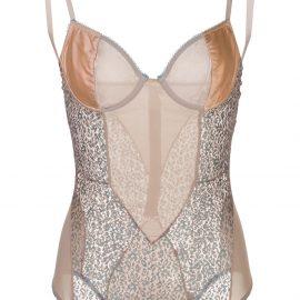 Kiki de Montparnasse Tiger Lily lace and satin bodysuit - Neutrals
