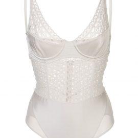 Kiki de Montparnasse macramé lace and satin bodysuit - White