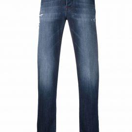 Kiton distressed-effect straight-leg jeans - Blue