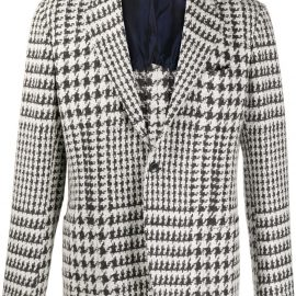 Kiton houndstooth cashmere-blend blazer - White
