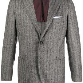 Kiton slim herringbone blazer - Grey