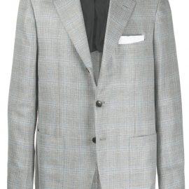 Kiton tartan pattern blazer - Grey
