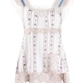 LANVIN floral-print lace-trimmed camisole - Neutrals
