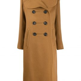 LANVIN heart-lapel double-breasted coat - Brown