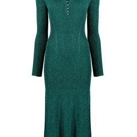 LANVIN metallic midi dress - Green