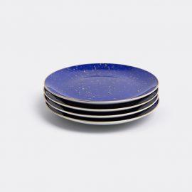 L'Objet Tableware - 'Lapis' dessert plate, set of four in Blue, Gold Porcelain