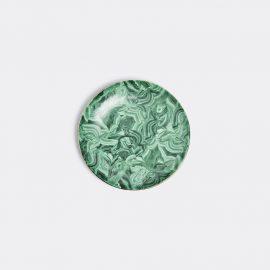 L'Objet Tableware - 'Malachite' round platter in Green, Gold Porcelain