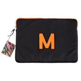 "Laines London - Personalised Black / Orange Leather 13"" Laptop Bag"