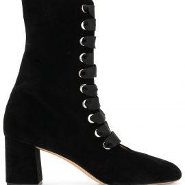 Le Monde Beryl velvet lace-up ankle boots - Black