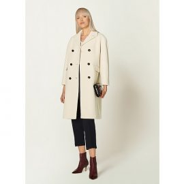 Leanne Winter White Wool-Blend Double-Breasted Coat, Cream